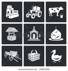 The village life Vector Icons Set - stock vector