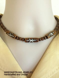Men's Brown bead necklace Unisex necklace Men's