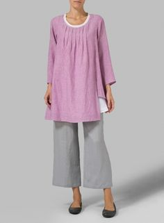 MISSY Clothing - Linen Double Layers Pleated Blouse