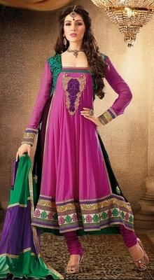 Stylish Pink Embellished Flared Churidar Suit Stylish pink faux georgette embellished flared kameez designed with resham, zari, stone and patch border work. Matching churidar and dupatta. #ReadymadeAnarkaliSuits #BuyAnarkaliDressesUSA