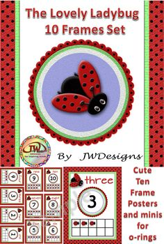 From The Lovely Ladybug series. These cute ten frames posters and a composite of minis (that can be used on o-rings, as flash cards, or as part your math centers / stations) come in two sets, so that you have a choice in fonts.  Fun for Pre-K - K and homeschoolers too.