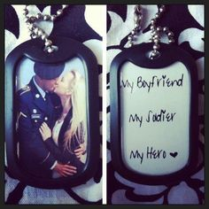 Custom Double Sided Photo Dog Tag-- Add a special quote or date from HeartsandHeroes on Etsy. Air Force Girlfriend, Navy Girlfriend, Military Girlfriend, Military Love, Army Love, Military Couples, Military Deployment, Airforce Wife, Usmc