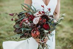 Red Flower and Foliage Wedding Bouquet for Bride | By Only Lovers | Wedding Bouquet | Wedding Flowers | Bridal Bouquet | Flowers for Bride | Bride Bouquet | Bride Flowers | Red Wedding Flowers | Red Bouquet | Rustic Wedding | Barn Wedding