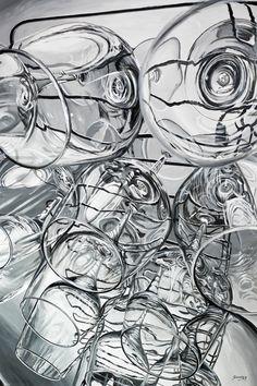 """CUPS #1"" By Socrates Rizquez 2019 - Enamels on aluminium painting. Pintado con esmaltes sobre aluminio. 100 x 150 cm. Enamel Paint, Paintings, Abstract, Gallery, Artwork, Enamels, Summary, Work Of Art, Paint"