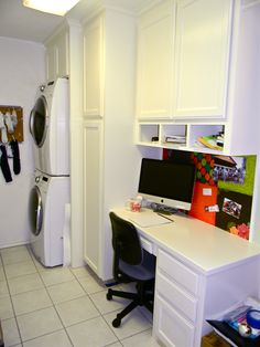 laundry room office. i converted my laundry room into a roomoffice with builtins office