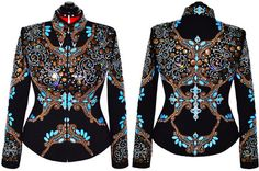 Just listed! Copper Sky Jacket L 1,095.00 Large Western Show Jacket. Elegant and classic; perfect for all riding and in-hand classes. Love this look for showmanship.  We've combined marbled sky blue, bronze pearls, clear crystals and metal disks to create this perfectly symmetrical yet totally bold jacket.
