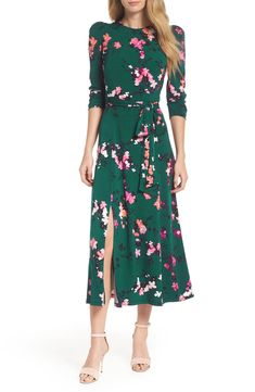 Wondering what to wear to a spring wedding? We've got all the 2021 trends and 50 spring wedding guest dresses to get you started. Dresser, Green Midi Dress, Midi Dresses, Floral Dresses, Casual Dresses, Eliza J Dresses, Print Chiffon, Chiffon Gown, Faux Wrap Dress