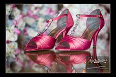 Photo by Impressions Photo and Video http://impressionsphotoandvideo.com/#Photography #WeddingPhotography #NJWeddings #WeddingHeels #Stilettos #PinkHeels #WeddingIdeas #PinkAccent #Brides #ShoeDetails #JeweledShoes