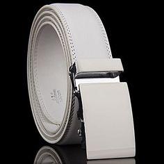 Mens Designer Genuine White Leather Belt