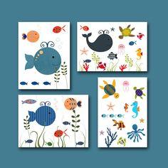 "Art for Children , Kids Wall Art, Baby Room Decor, Nursery print,set of 4 11"" x 14"" Print,fish,whale,blue, green,artwork,collage. $80,00, via Etsy."