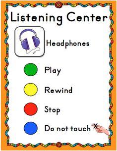 Updated Listening Center Sign Freebie
