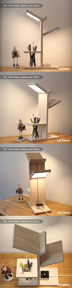 A lamp and pen holder in one made with the 2 OLED panels and driver included in an LG Display DIY kit. (Designed by Jung hoon Ko) Check out Organic Lights at Wood Projects, Woodworking Projects, Diy Luz, Diy Furniture, Furniture Design, Diy Luminaire, Ideias Diy, Wood Lamps, Led Lampe