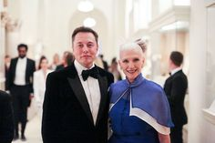 """""""From the moment he could speak, he could discuss."""" Elon Musk with his mother at the Met Gala 2016 HONY Portrait, Humans Of New York, Stylish Suit, In This Moment, Met Gala 2016, Celebrities, Photographer, Role Models, Human"""