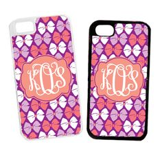 Monogrammed Purple Bows Cell Phone Case
