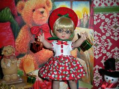 "Wonderful World of Dolls - Fits 10"" Ann Estelle Tonner Doll .. Ann's Red & Green Snowman Dress ..D1161  $15.95 http://www.wonderfulworldofdolls.biz/fits-10-ann-estelle-tonner-doll-anns-red-green-snowman-dress-d1161/"