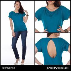 Show off your style with this gorgeous cowl-necked teal top from Provogue! The open back is perfect to show off your gorgeous figure as you hangout with your girls. Check it out at a Provogue Store near you.