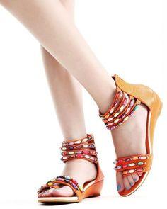 Designer-Damen-Schuhe-Wedge-Sandalen-Riemen-Bunte-Perlen-1A-Qualitaet-UVP-29-90