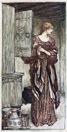 "Sieglinde prepares Hunding's draught for the night (1910), lithograph by Arthur Rackham (1867-1939) [published in ""The Rhinegold & The Valkyrie"", facing page 88], from Act 1, Scene 2, of ""Die Walküre"" (1856), by Richard Wagner (1813-1883)."