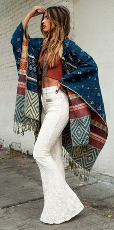 fall boho style inspiration / poncho + top + white pants
