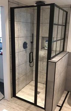 Black shower enclosure with black grid style side window. Glass Bathroom Door, Mold In Bathroom, Loft Bathroom, Bathroom Design Small, Bathroom Interior Design, Black Shower, Side Window, Shower Enclosure, Bathroom Styling