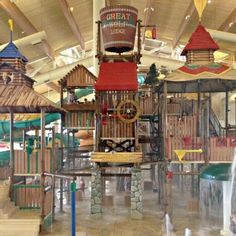 Great Wolf Lodge, Grapevine TX - is a massive indoor/outdoor water park. Each room includes water park passes throughout your stay. spa, large arcade, 3D movie area, fitness center, shops, robotic ice cream maker, and an interactive game that covers the entire resort called MagiQuest which will have your kids running up and down the stairs for hours. KidCabin Suites have a kid hide-out in the middle of the room that sleeps 3 children.