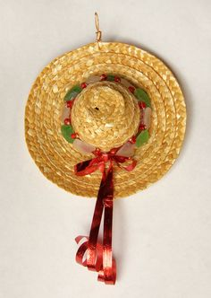 Sea Glass Christmas Ornament Straw Hat by oceansbounty on Etsy, $10.00