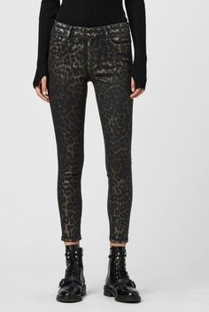 Allsaints Grace Leo Foil Ankle Skinny Jeans in Bronze - Bronze Allsaints Style, Allsaints Looks, Skinny Fit, Skinny Jeans, Checked Blazer, Discount Clothing, All Saints, Latest Fashion For Women, Stretch Denim