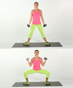 Sumo squats 39899146686351935 - Sumo Squat With Bicep Curls Source by Arm Exercises With Weights, Best Dumbbell Exercises, Dumbbell Workout, Workout Body, Resistance Workout, Fitness Workouts, At Home Workouts, Arm Workouts, Get Ripped Fast