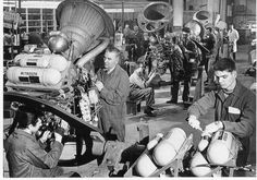 Stentor assembly line at Bristol Siddeley factory in Ansty, Warwickshire. Rolls Royce (who absorbed Bristol Siddeley) recently announced they were closing the factory.