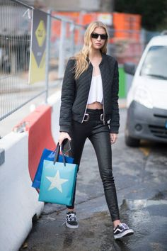 Stella Maxwell seen in the streets of Paris after the Chanel show during the Paris Fashion Week Womenswear Spring/Summer 2018 on October 3 2017 in...
