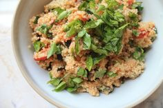 italian quinoa with roasted tomatoes and olives. - frugal foodie family | fabulous chow - less dough
