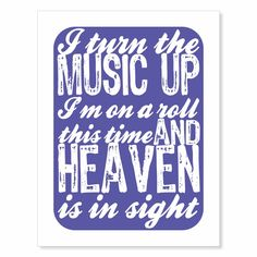 Typography Art Print - Turn The Music Up v1 - song lyric wall art epic gift for music lovers audiophiles men women royal blue or custom by LiltAndMagic on Etsy