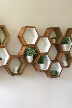 Bedroom Decor Discover Mid Century Shelves Honeycomb Shelving Hexagon Wall Shelf Geometric Wood Shelves Modern Home Decor Eco Friendly 3 Medium Shelves Unique Shelves, Modern Shelving, Wood Shelves, Wall Shelving, Plant Shelves, Geometric Shelves, Honeycomb Shelves, Mid Century Shelves, Hexagon Wall Shelf