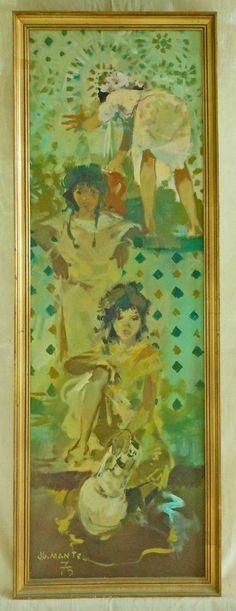 Vintage Orientalism Jean Gaston Mantel The Source Painting 75 Arab Girl Erotic  | eBay