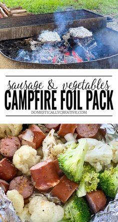 Easy campfire recipe using a foil packet. Filled with sausage and vegetables for a low carb and filling camp dinner. #domesticallycreative #foilpack #camping #campfiredinner #easyrecipe Grilled Chicken Recipes, Easy Chicken Recipes, Pork Recipes, Easy Dinner Recipes, Yummy Recipes, Holiday Recipes, Healthy Recipes, Easy Campfire Meals, Campfire Food