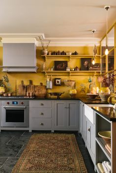 The Real Shaker Kitchen from the brand new Bond Street showroom of deVOL Kitchens Devol Shaker Kitchen, Devol Kitchens, Shaker Style Kitchens, Grey Kitchens, Modern Kitchens, Mustard Kitchen, Mustard Yellow Kitchens, Mustard Yellow Walls, Grey Cabinets