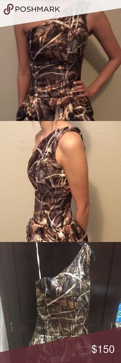 """Camouflage one shoulder Formal Dress Beautiful Real Tree Advantage Max 4 one shoulder Dress size 2 Made by Camo Floral Length from top shoulder strap to bottom is 35"""" / from waist to the bottom of dress is about 16"""" /across chest is 16"""" (chest altered so can be let out a little) Model is size 2 5'8""""  Last two picture off of website to show style and one to show the color/pattern May consider full or partial trade Dresses Prom"""