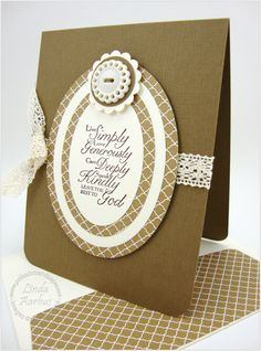 handmade greeting card ... sentiment: leave the rest to God ... like the layered framelits ovals with alternating  white and patterned paper ... matching enevelope liner ... Stampin' Up!