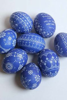 "Blue & white ""easter"" eggs"