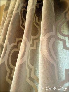 The Concrete Cottage - Painted drop cloth curtains