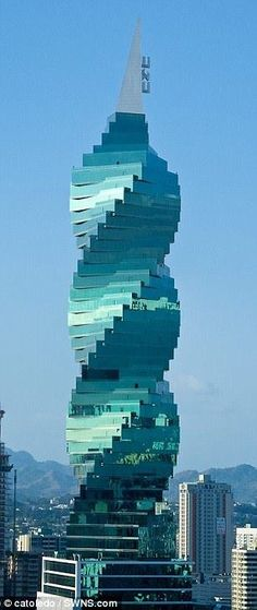 Another one of those amazing buildings in Panama City. A must see and a hard to miss building. F Tower by Architect Pinzon Lozano in Panama City, Panama Unusual Buildings, Interesting Buildings, Amazing Buildings, Modern Buildings, City Buildings, Futuristic Architecture, Beautiful Architecture, Art And Architecture, Photos Voyages