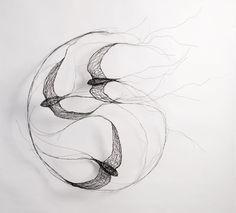 "vjeranski: ""@ Celia Smith:I use wire to create sculptures. Each sculpture that I make is a three-dimensional drawing with the wires representing a quality of line. Birds are my main inspiration; Sculpture Tattoo, Sculpture Art, Angel Sculpture, Roman Sculpture, Bronze Sculpture, Sculptures Sur Fil, Wire Sculptures, Stylo 3d, Wire Drawing"
