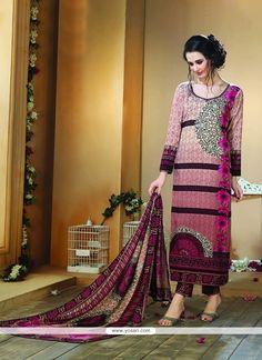 Flawless Fancy Fabric Multi Colour Print Work Designer Straight Salwar Kameez Model: YOS7457