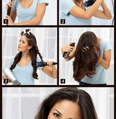 1. Wash your hair and rub it with a towel to soak up the water. 2. Section your hair in small ones and start blow drying each section one by one. 3. With the brush, make little twists which you blow dry again so your hair will look more natural. 4. After you have finished with the entire hair, use some hairspray (not too much to make it feel heavy) and you are done.