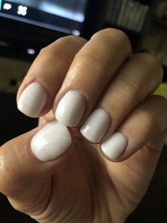 Anc brand, opaque white nails with purple and blue shimmer dip polish, polish nails White Coffin Nails, White Nail Polish, White Nails, Sns Nails, Manicure Y Pedicure, Mani Pedi, Shellac, Short Square Acrylic Nails, Nagellack Trends