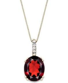14k Gold Necklace, Garnet (3-1/2 ct. t.w.) and Diamond Accent Oval Pendant.