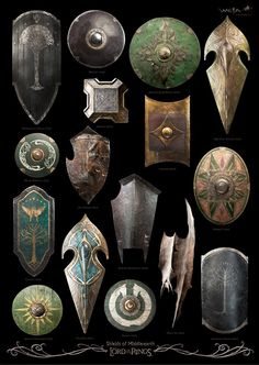 The shields of Middle Earth as shown in The Lord of the Rings trilogy Fantasy Armor, Medieval Fantasy, The Middle, Middle Earth, Larp, Illustration Fantasy, Inspiration Drawing, J. R. R. Tolkien, Armadura Medieval