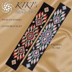 Bead loom pattern - Vivid feathers ethnic inspired LOOM bracelet pattern in PDF - instant download