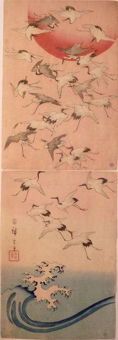 Cranes Flying over Waves by Hiroshige