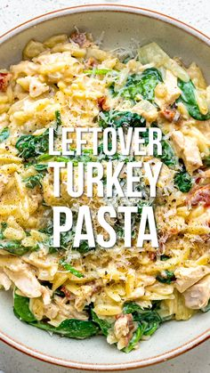 This creamy one-pot orzo pasta recipe is great for using up leftover Thanksgiving/ Christmas turkey. It is quick, easy, delicious AND slimming friendly too! By the way if leftover turkey is not in season this recipe works great with chicken too 🙂 Easy Leftover Turkey Recipes, Leftover Turkey Casserole, Thanksgiving Leftover Recipes, Leftovers Recipes, Dinner Recipes, Thanksgiving Leftovers, Turkey Leftovers, Turkey Steak Recipes, Cooked Chicken Recipes Leftovers